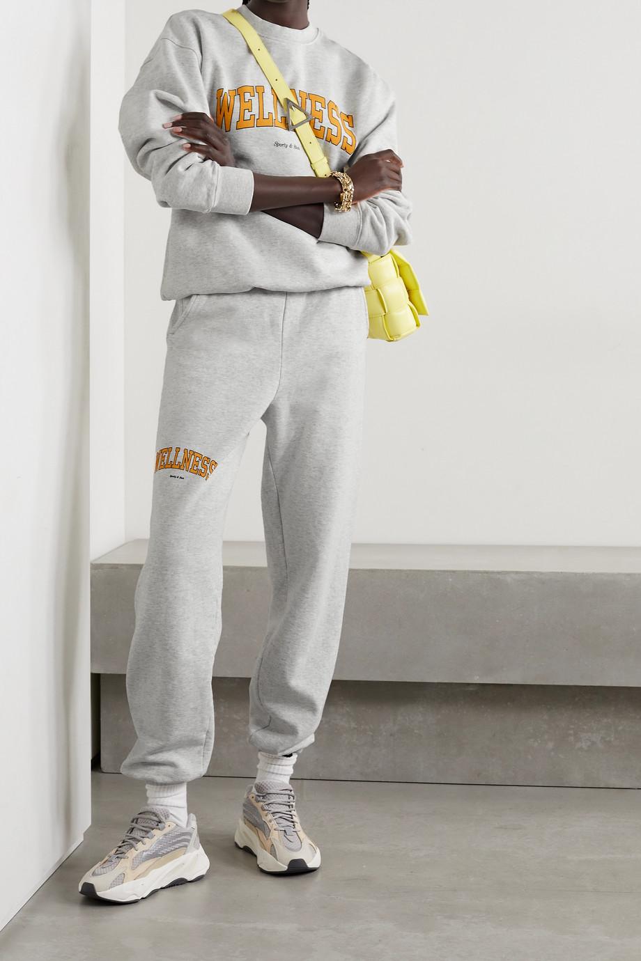 Sporty & Rich Wellness Ivy Jogginghose aus meliertem Baumwoll-Jersey mit Print