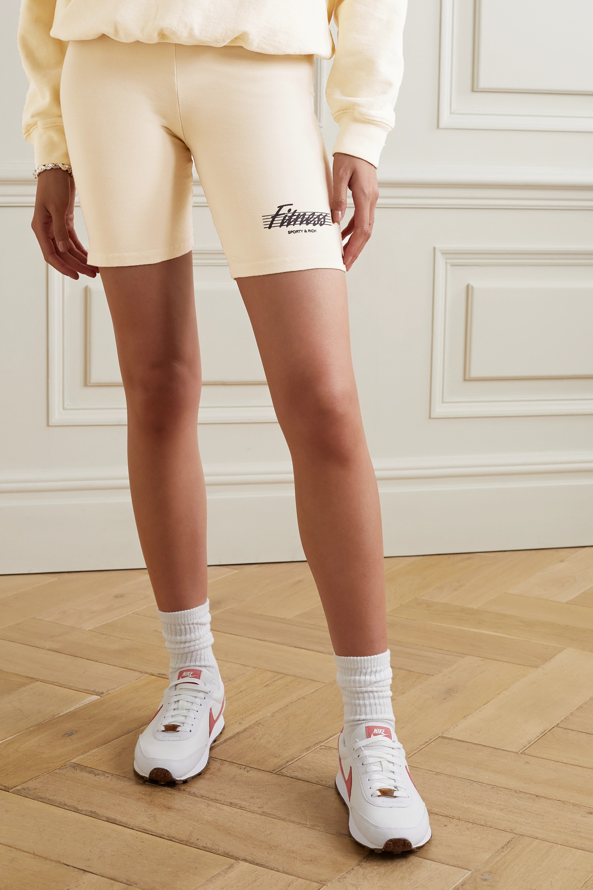 Sporty & Rich Printed cotton-jersey shorts