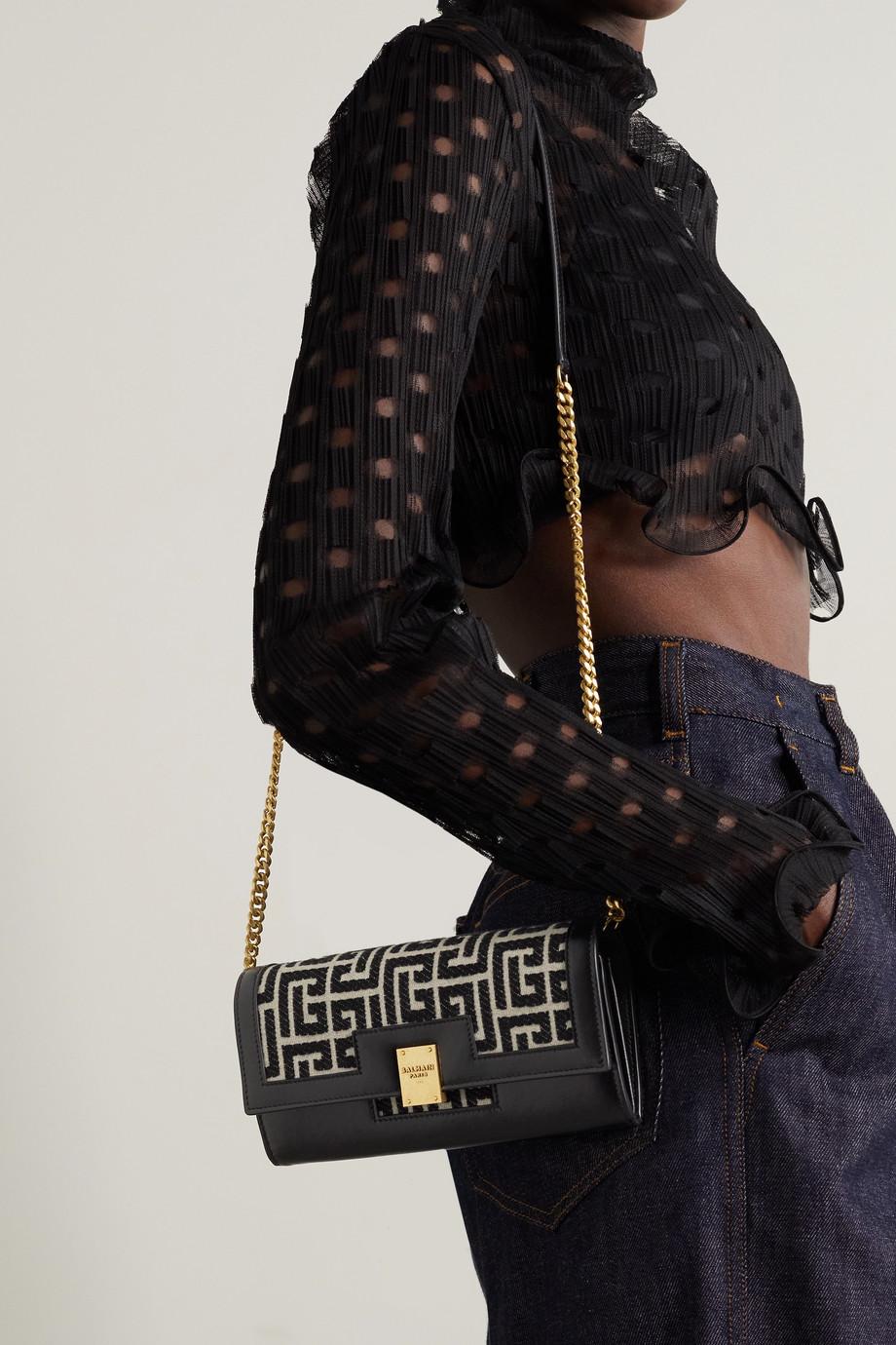Balmain 1945 leather-trimmed jacquard shoulder bag