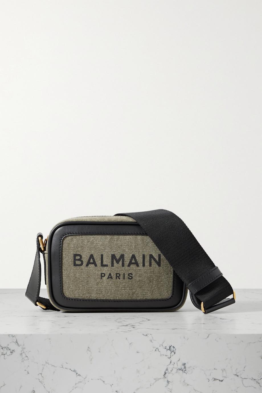 Balmain B-Army Camera 18 Schultertasche aus Canvas mit Print und Lederbesätzen