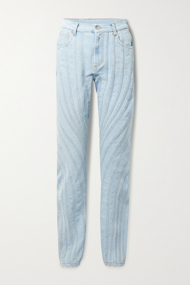 Mugler - Paneled Low-rise Straight-leg Jeans - Light denim