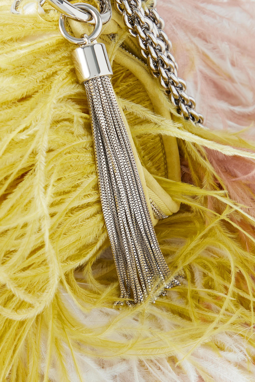 Jimmy Choo Callie tasseled feather and satin clutch