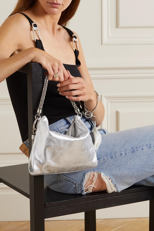 Jimmy Choo Callie tasseled chain-embellished metallic leather clutch
