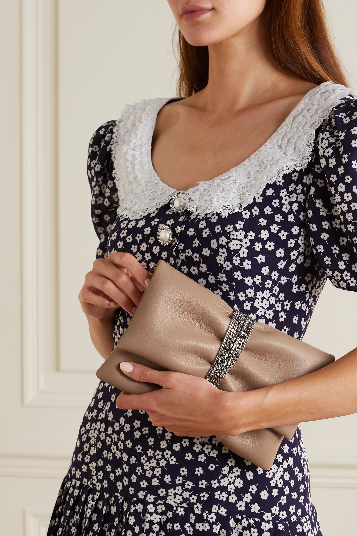 Jimmy Choo Daisy chain-embellished leather clutch