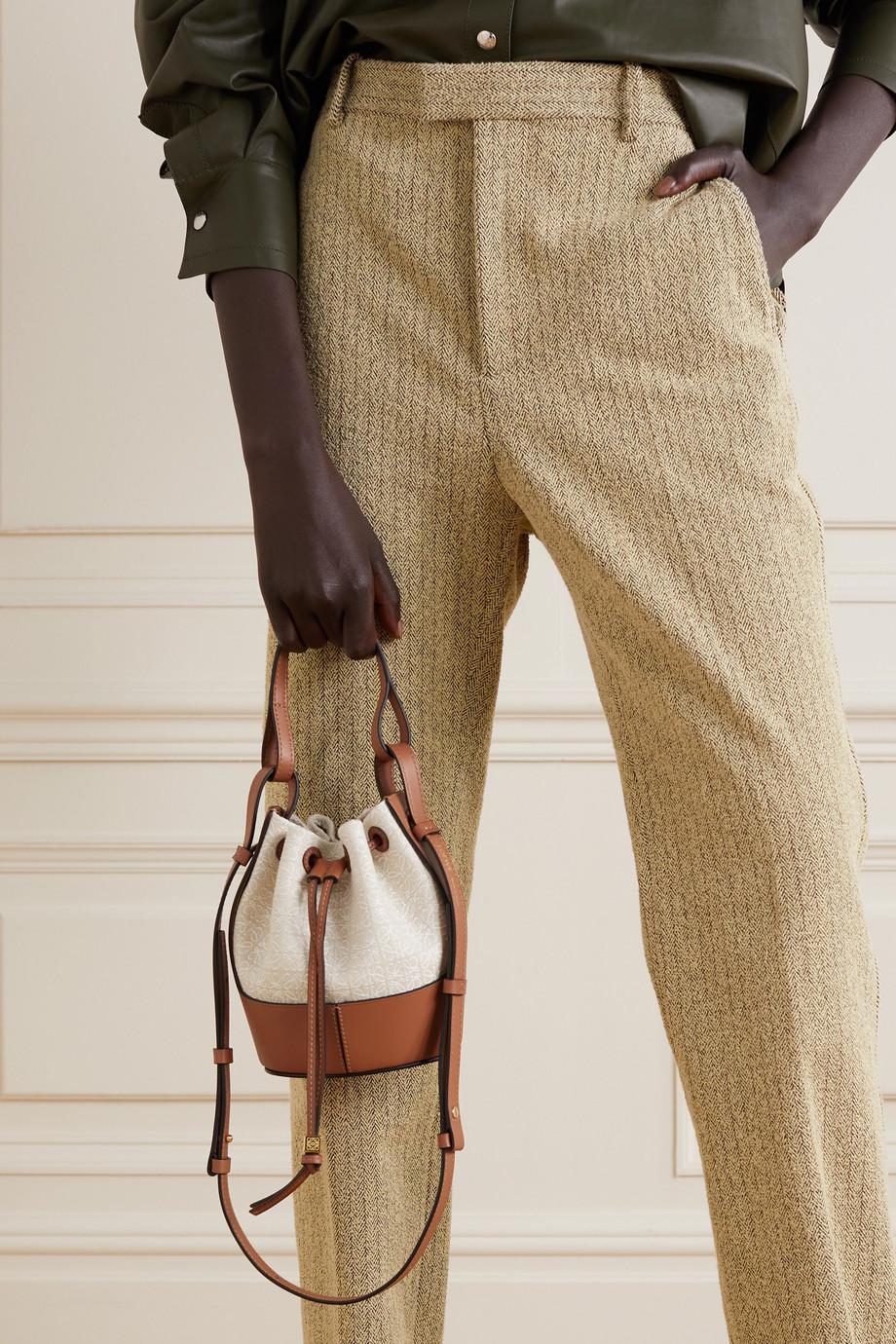 Loewe Balloon mini leather-trimmed cotton-canvas bucket bag