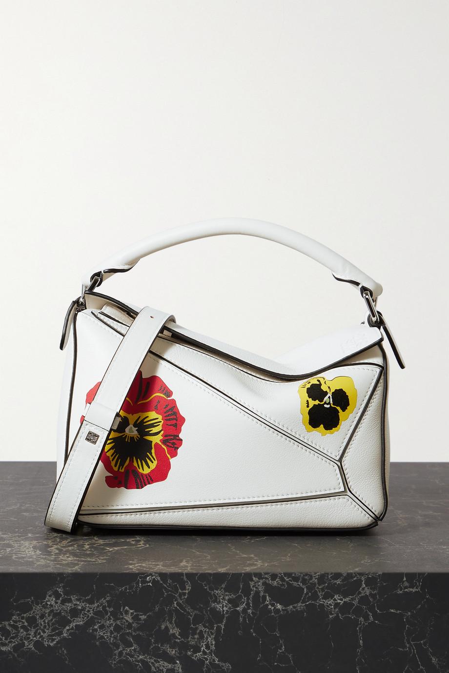Loewe + Joe Brainard Puzzle kleine Schultertasche aus strukturiertem Leder mit Blumenprint