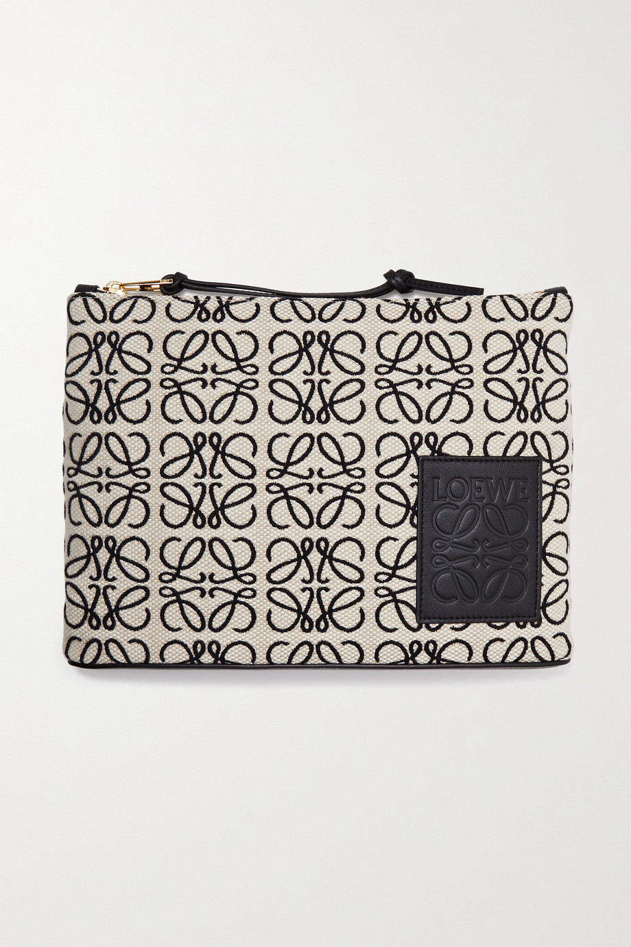 Loewe + Joe Brainard Anagram leather-trimmed canvas-jacquard pouch