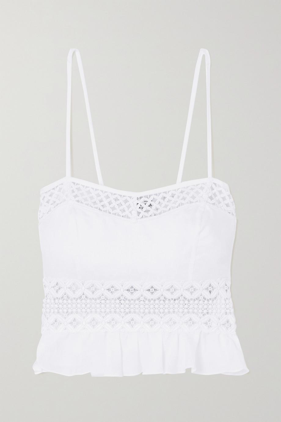 Charo Ruiz Crocheted lace-trimmed cotton-blend poplin top