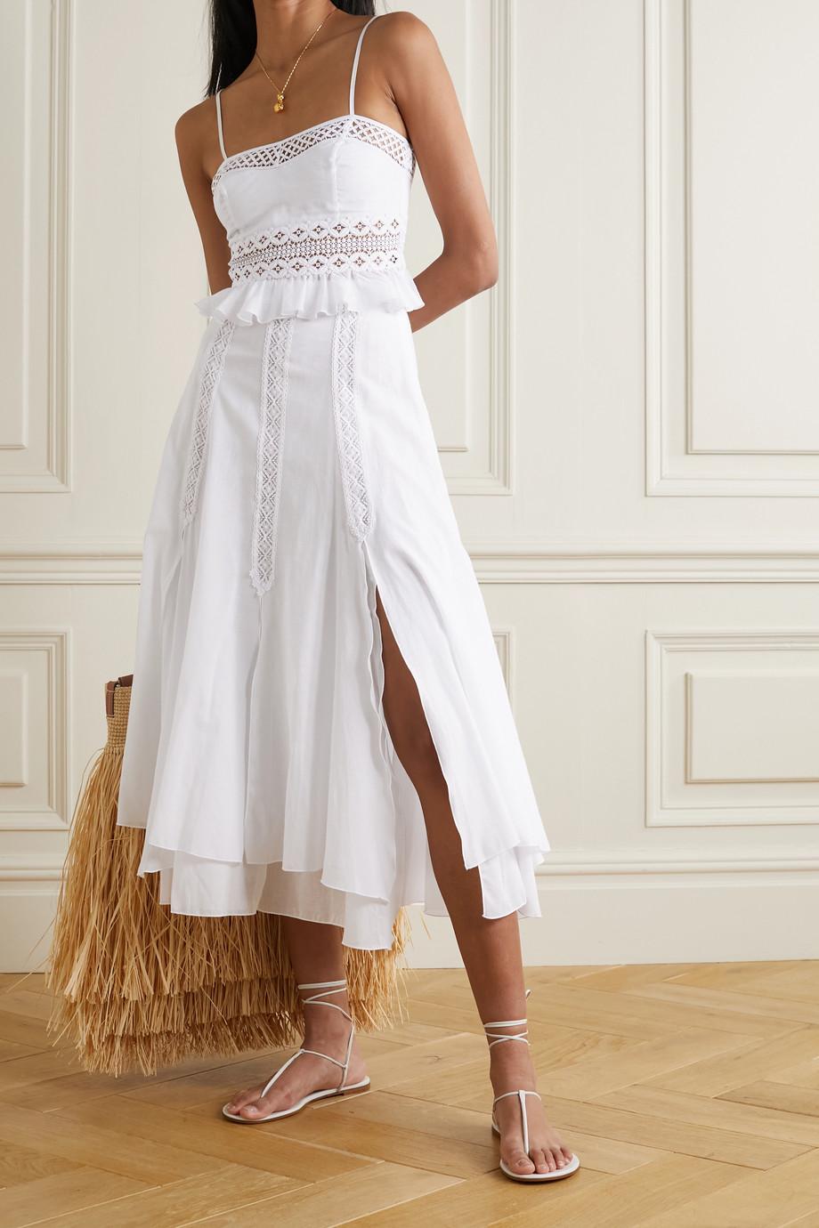 Charo Ruiz Crocheted lace-trimmed cotton-blend poplin midi skirt