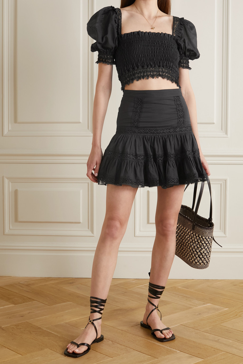 Charo Ruiz Crocheted lace-trimmed shirred cotton-blend voile top