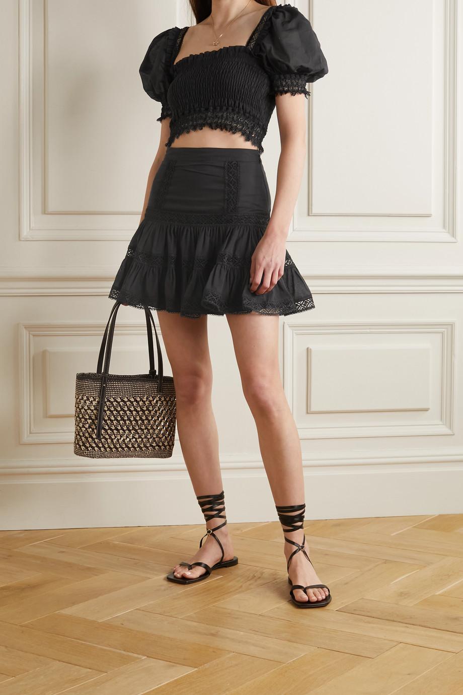 Charo Ruiz Crocheted lace-trimmed cotton-blend mini skirt