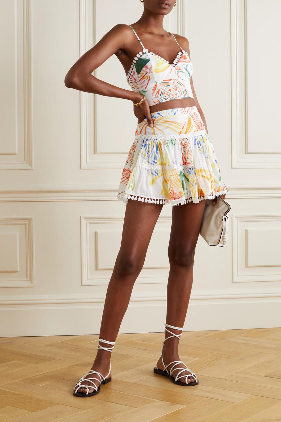 Charo Ruiz Bridget tiered printed cotton-blend voile mini skirt
