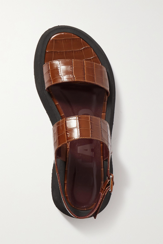 STAUD Nicky croc-effect leather slingback platform sandals