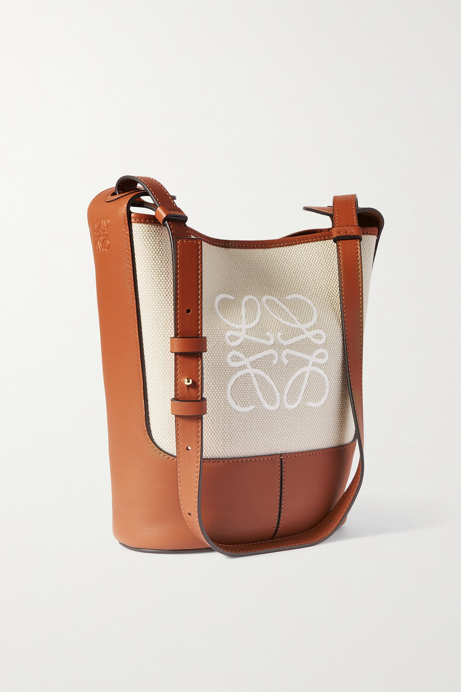 Loewe Hobo small embroidered canvas and leather shoulder bag