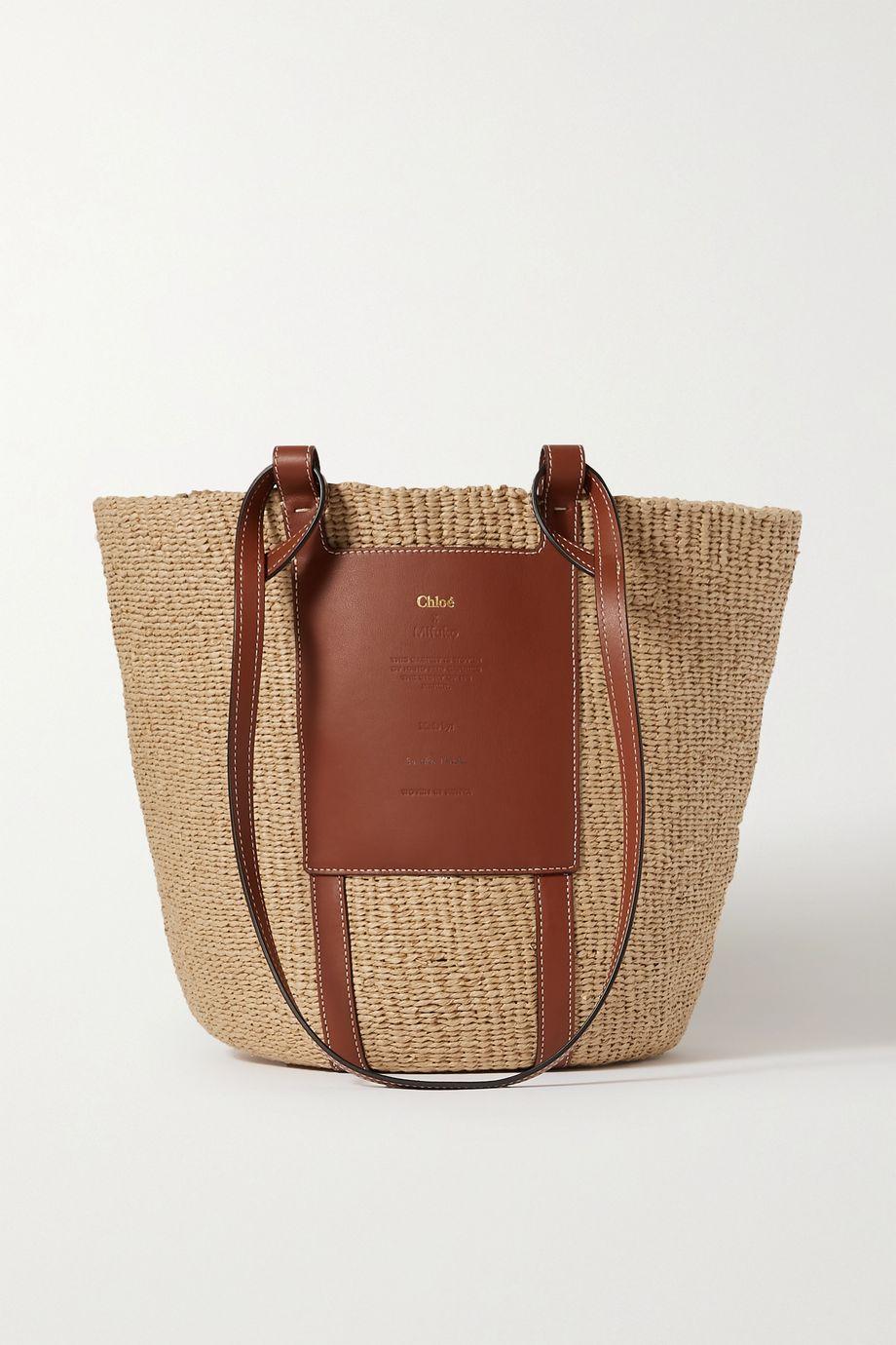 Chloé Leather-trimmed raffia basket bag