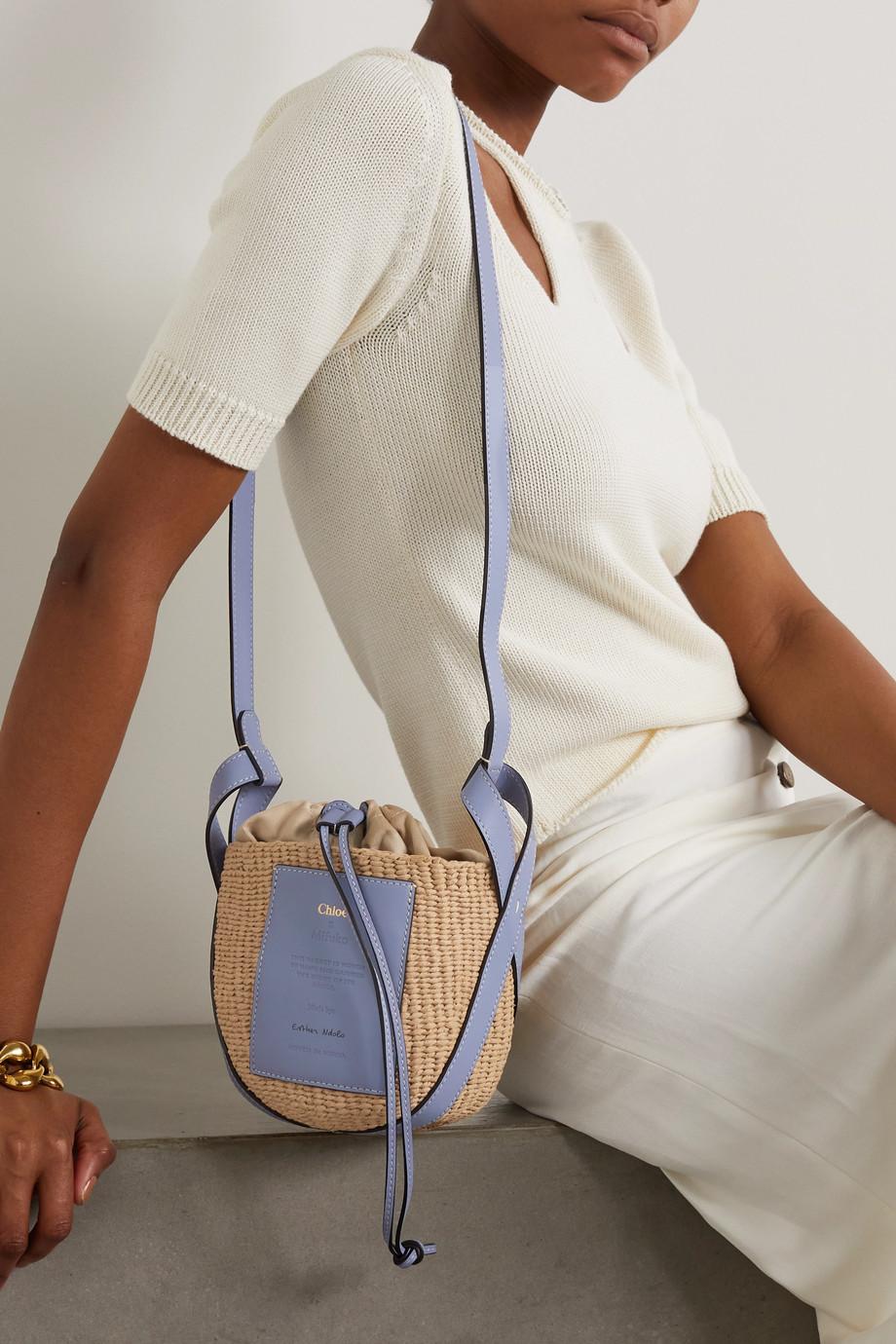 Chloé Leather-trimmed raffia bucket bag