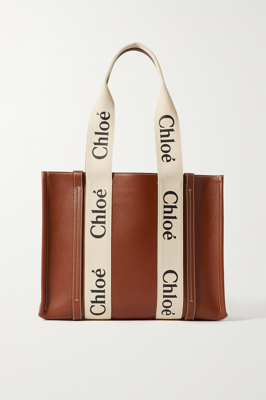 Chloé Woody small cotton canvas-trimmed leather tote