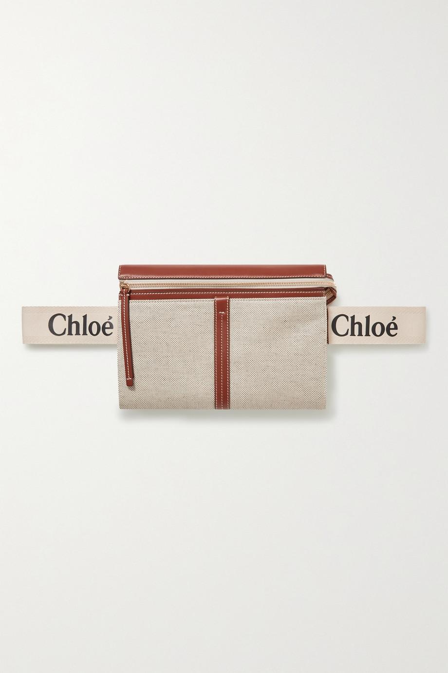 Chloé Woody leather-trimmed cotton-canvas shoulder bag