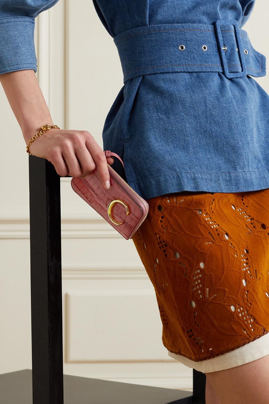 Chloé C croc-effect leather cardholder