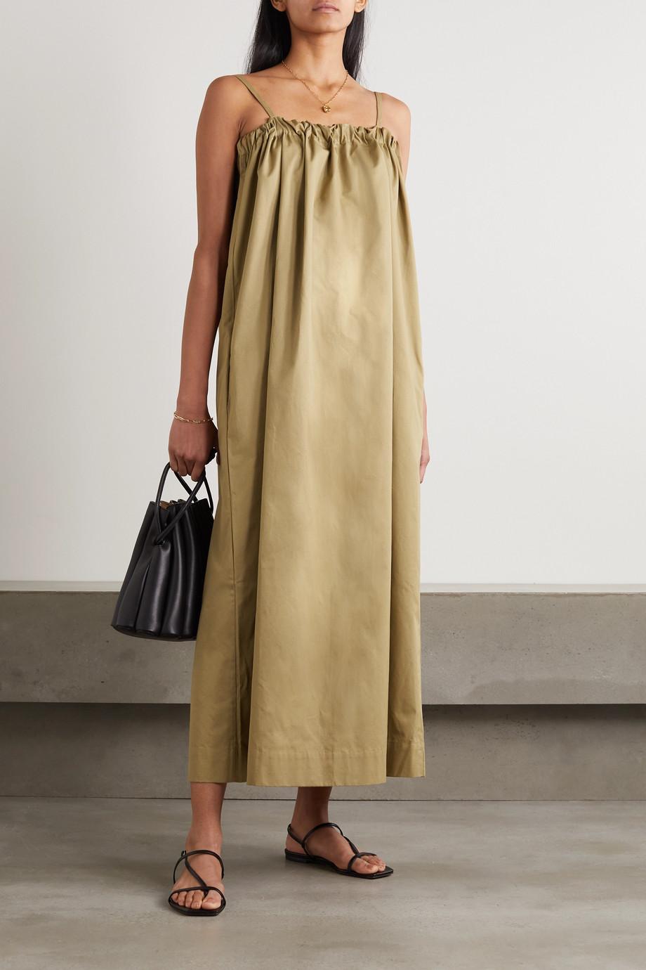 King & Tuckfield Tie-back gathered cotton-twill maxi dress