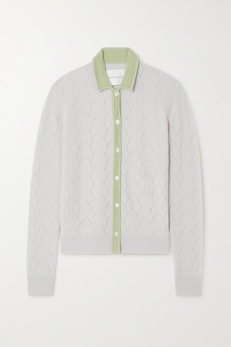 King & Tuckfield Chemise en laine mérinos bicolore à mailles pointelle