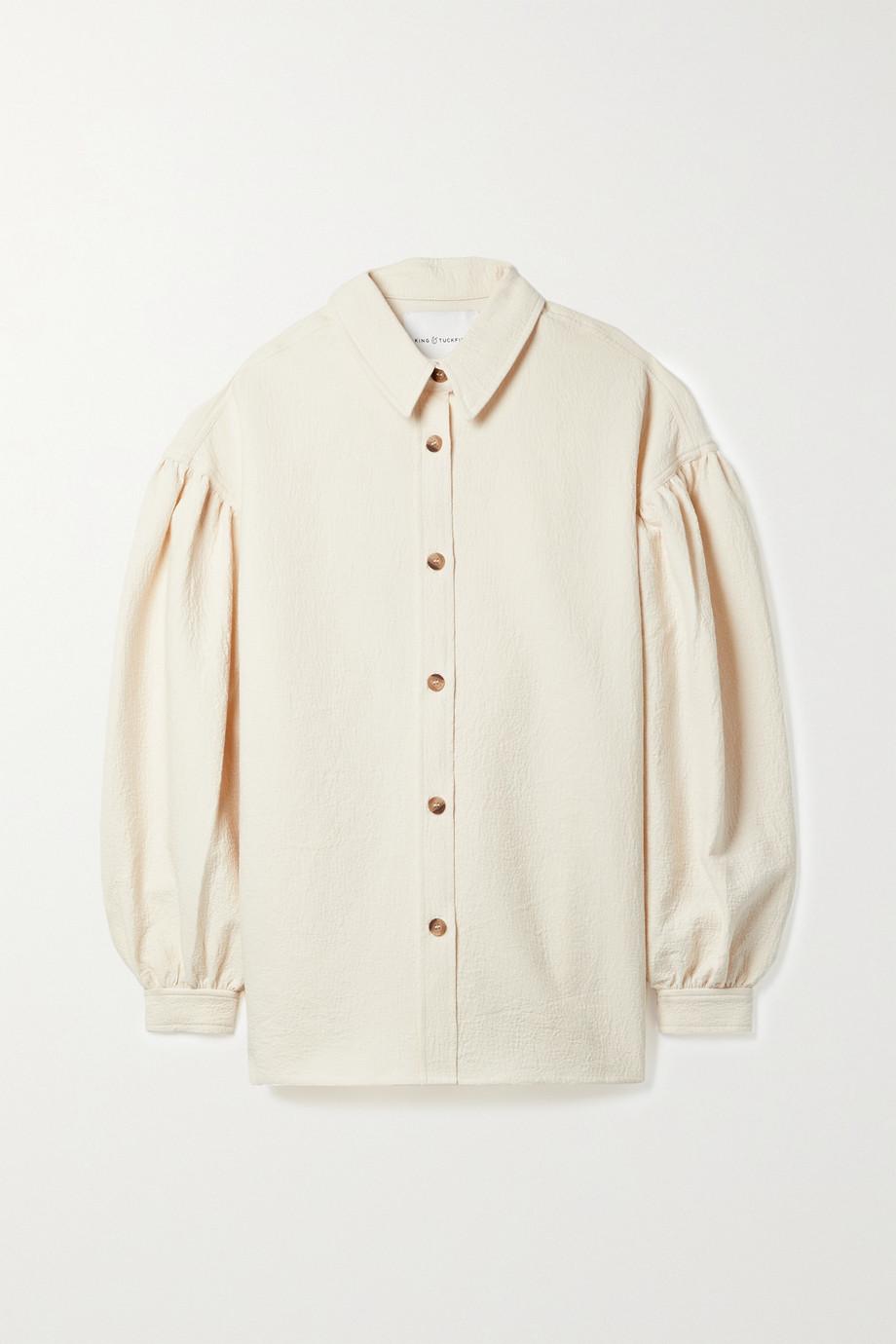 King & Tuckfield Gathered cotton-cloqué shirt