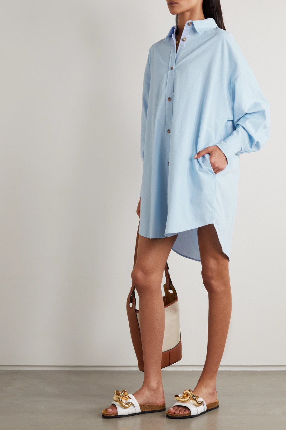 King & Tuckfield Oversized cutout cotton-corduroy shirt dress