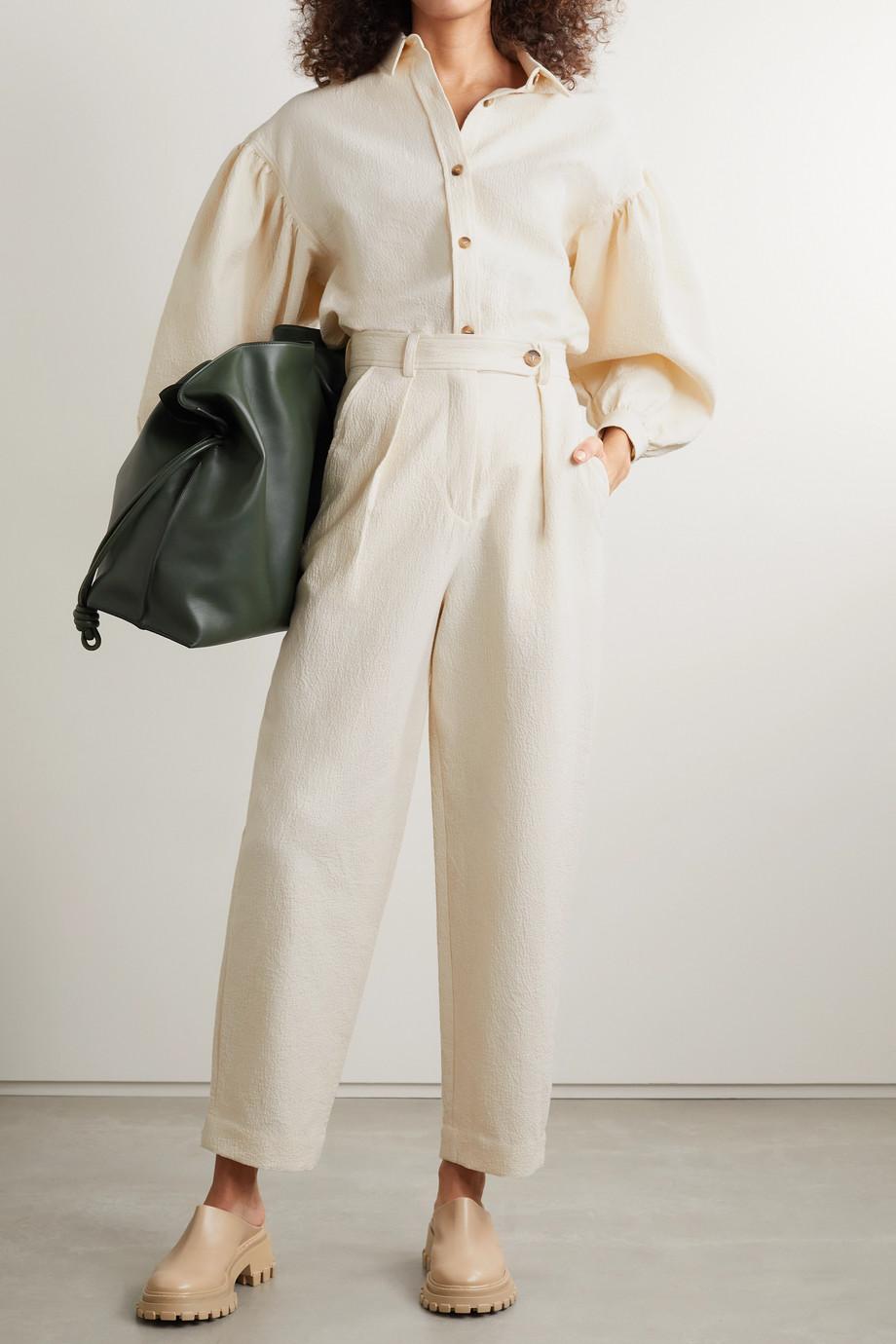 King & Tuckfield Pantalon droit en cloqué de coton à plis