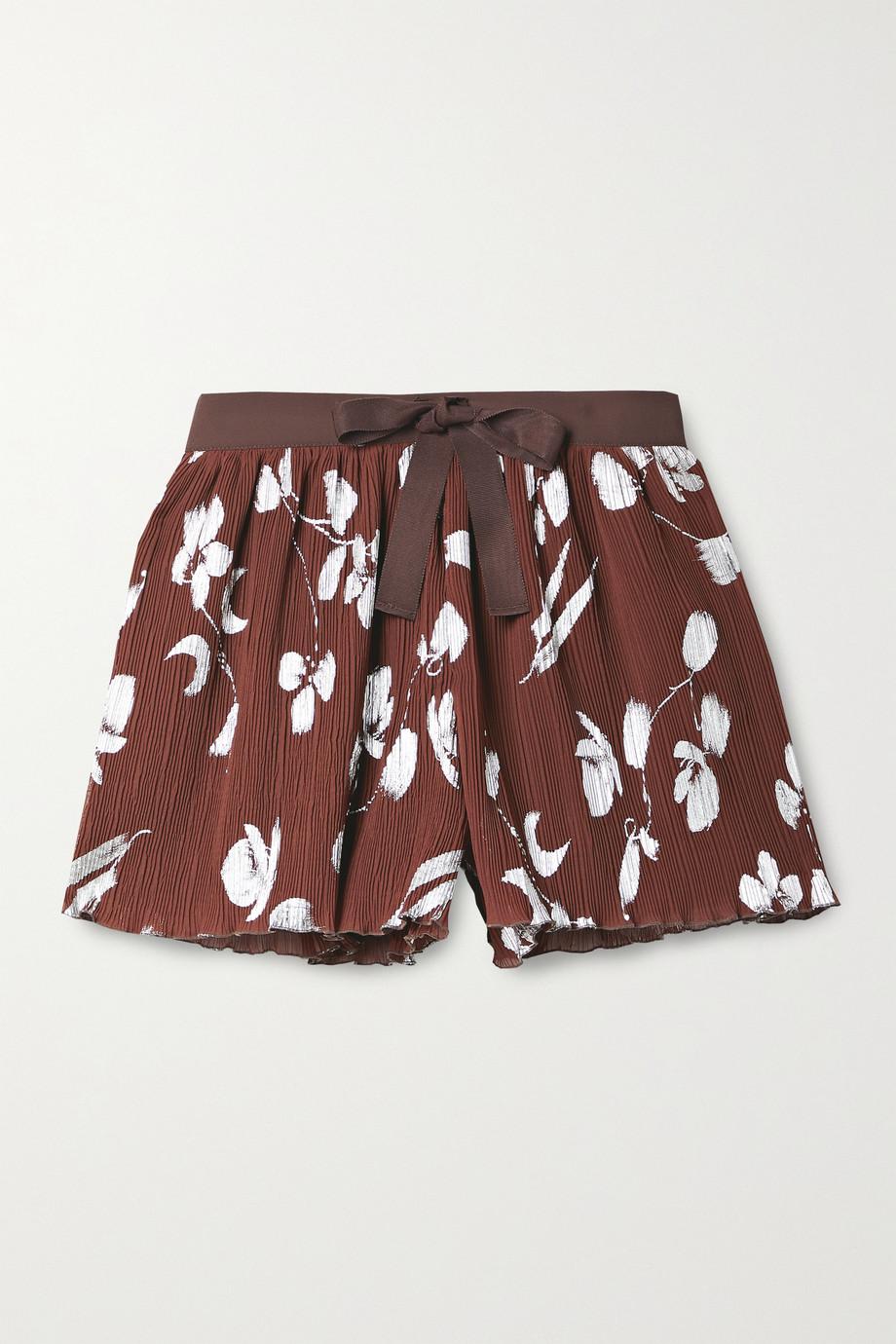 Halpern Shorts aus bedrucktem Krepon in Metallic-Optik