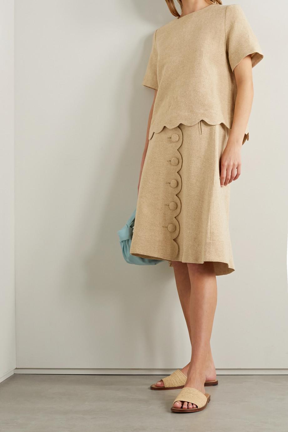 Lisa Marie Fernandez + NET SUSTAIN scalloped linen-blend top