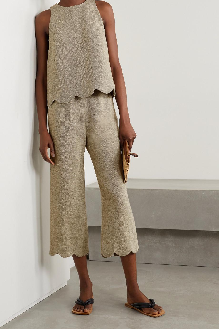 Lisa Marie Fernandez + NET SUSTAIN cropped scalloped linen-blend straight-leg pants