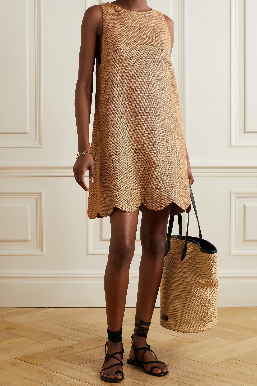 Lisa Marie Fernandez Mini-robe en lin et coton mélangés à carreaux et à festons - NET SUSTAIN