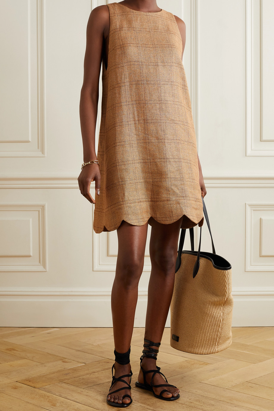 Lisa Marie Fernandez + NET SUSTAIN scalloped checked linen and cotton-blend mini dress