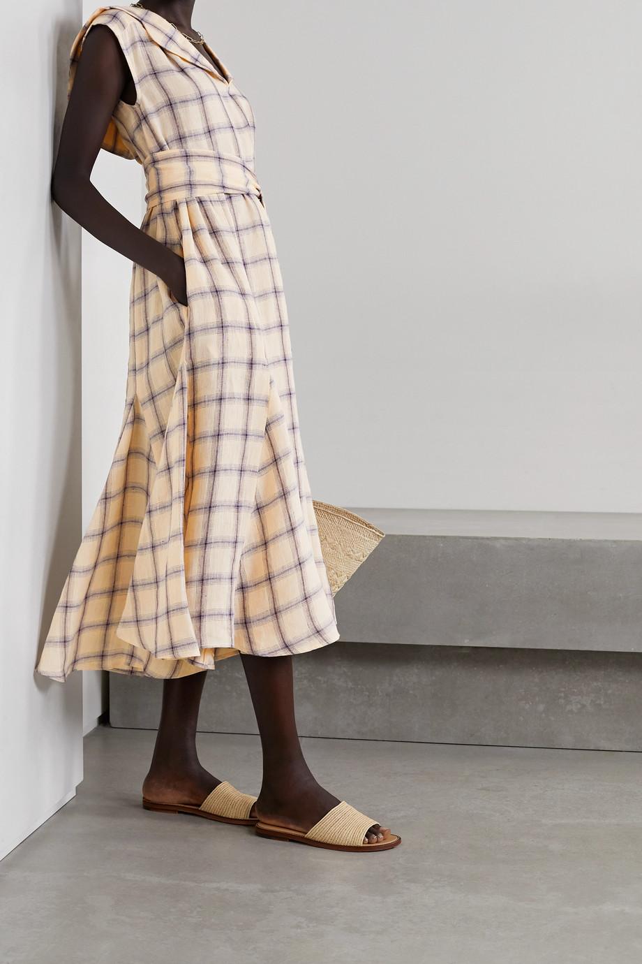 Lisa Marie Fernandez + NET SUSTAIN Marguerite belted checked linen midi dress