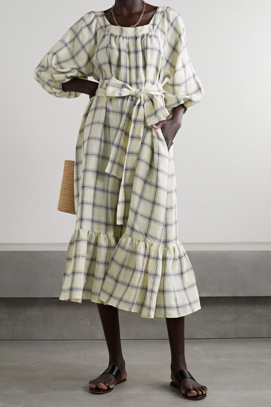 Lisa Marie Fernandez Combi-pantalon en lin à carreaux et à ceinture Laure - NET SUSTAIN