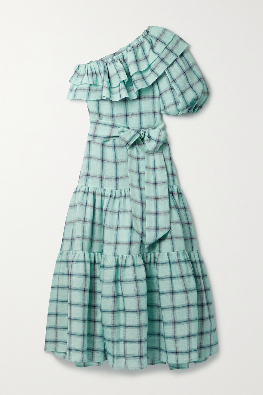 Lisa Marie Fernandez + NET SUSTAIN Arden one-sleeve checked linen maxi dress