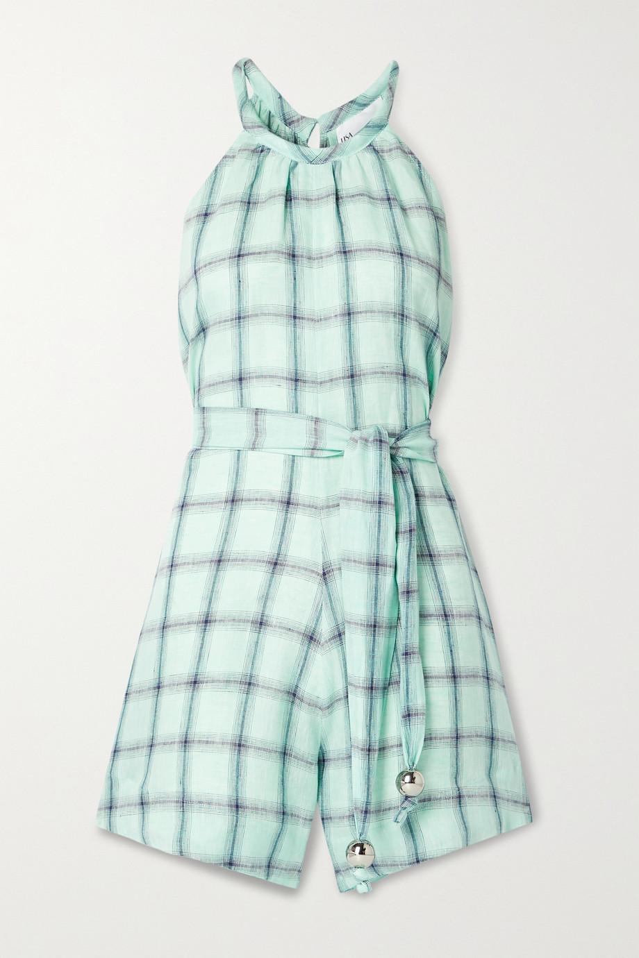 Lisa Marie Fernandez Combi-short en lin à carreaux et à ceinture - NET SUSTAIN