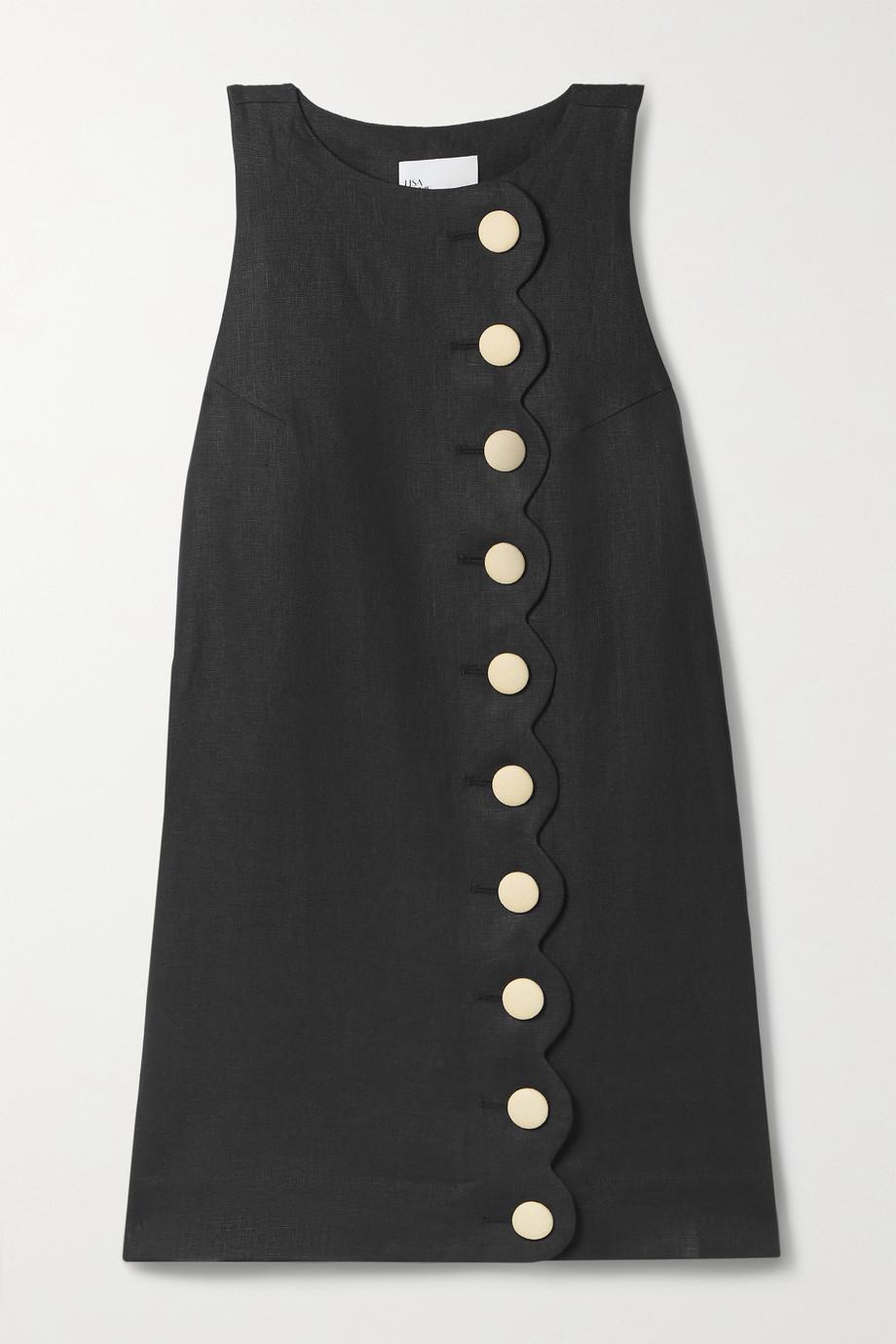 Lisa Marie Fernandez + NET SUSTAIN Minikleid aus Tweed aus Leinen mit Wellenkante