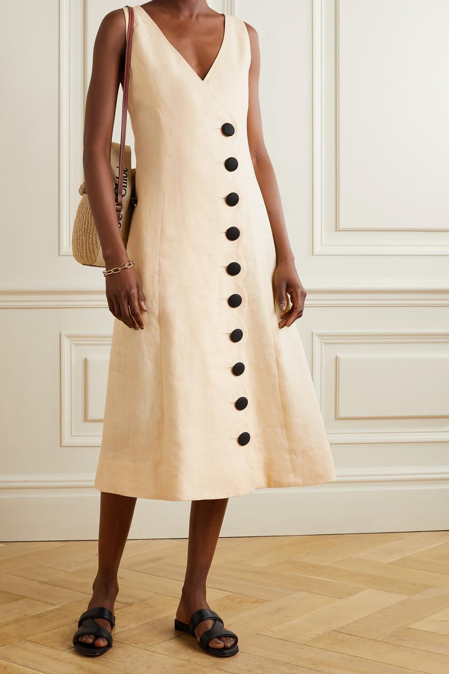 Lisa Marie Fernandez + NET SUSTAIN scalloped linen midi dress
