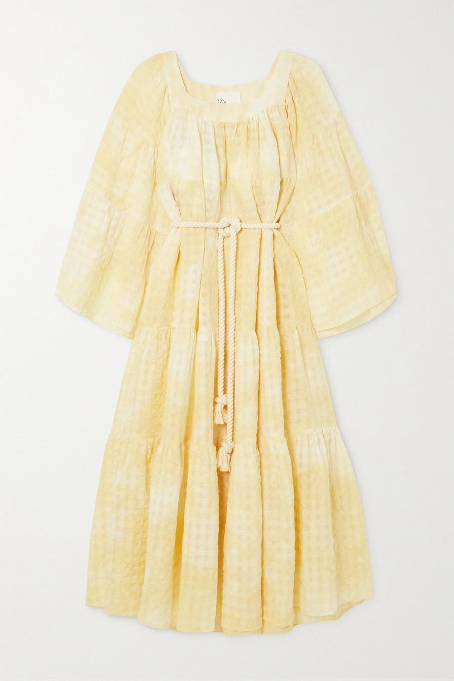 Lisa Marie Fernandez + NET SUSTAIN belted tie-dyed linen and cotton-blend seersucker maxi dress