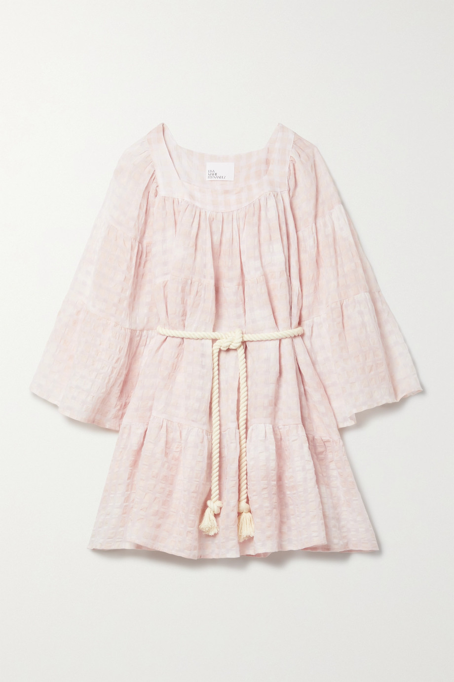 Lisa Marie Fernandez + NET SUSTAIN belted checked linen and cotton-blend voile mini dress