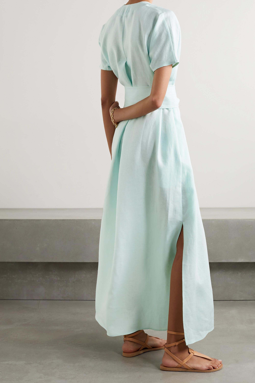 Lisa Marie Fernandez + NET SUSTAIN Rosetta belted linen maxi dress