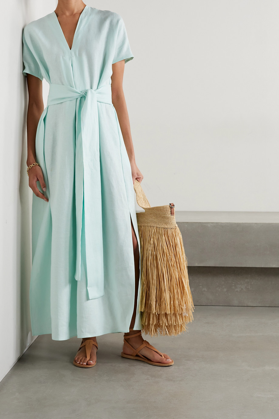 Lisa Marie Fernandez + NET SUSTAIN Rosetta belted linen maxi dress