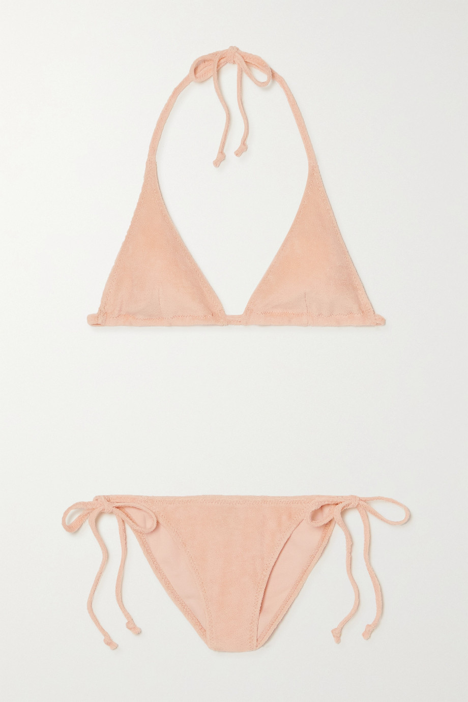 Lisa Marie Fernandez + NET SUSTAIN Pamela Triangel-Bikini aus Stretch-Baumwollfrottee mit Neckholder