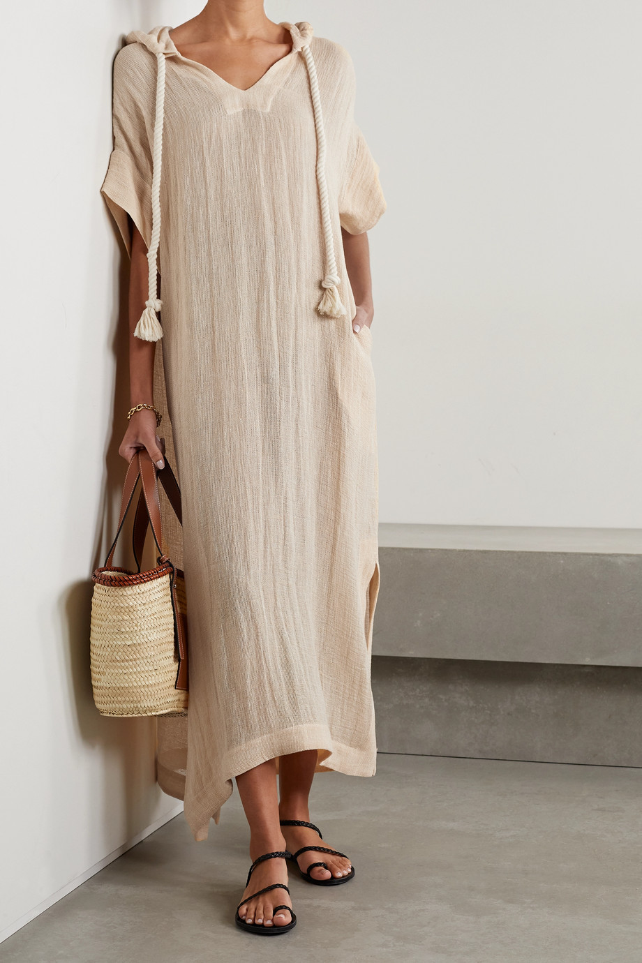 Lisa Marie Fernandez + NET SUSTAIN hooded linen-blend gauze kaftan