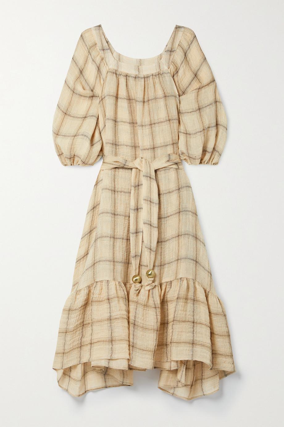 Lisa Marie Fernandez + NET SUSTAIN Laure belted checked linen-blend gauze midi dress