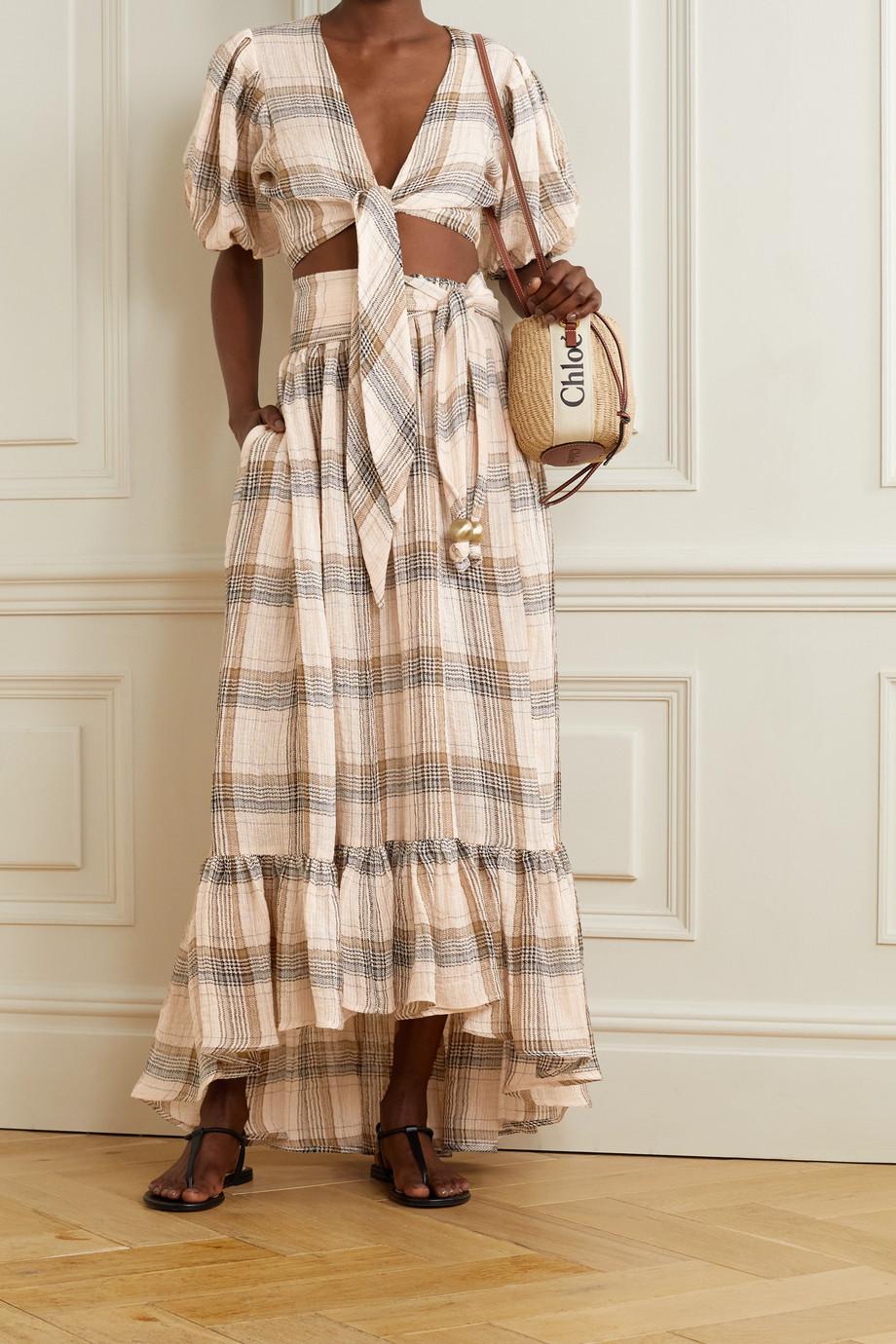 Lisa Marie Fernandez + NET SUSTAIN Pouf cropped tie-front checked linen-blend gauze top