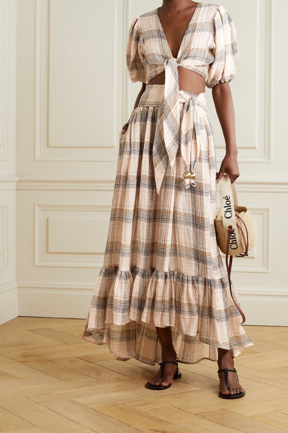 Lisa Marie Fernandez + NET SUSTAIN Nicole ruffled checked linen-blend gauze skirt