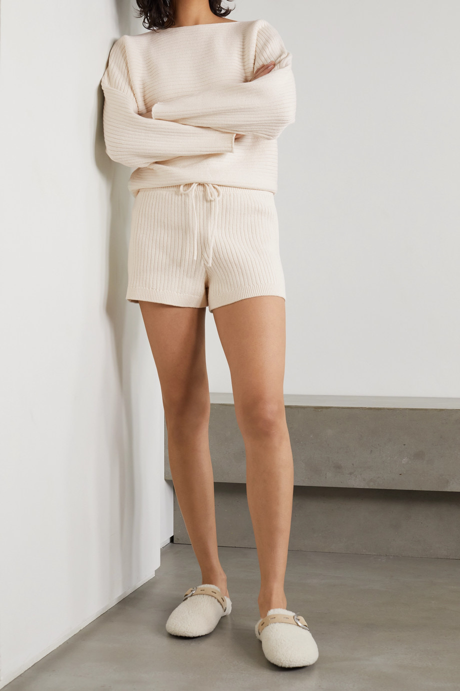Reformation + NET SUSTAIN Cort ribbed organic cotton sweater and shorts set