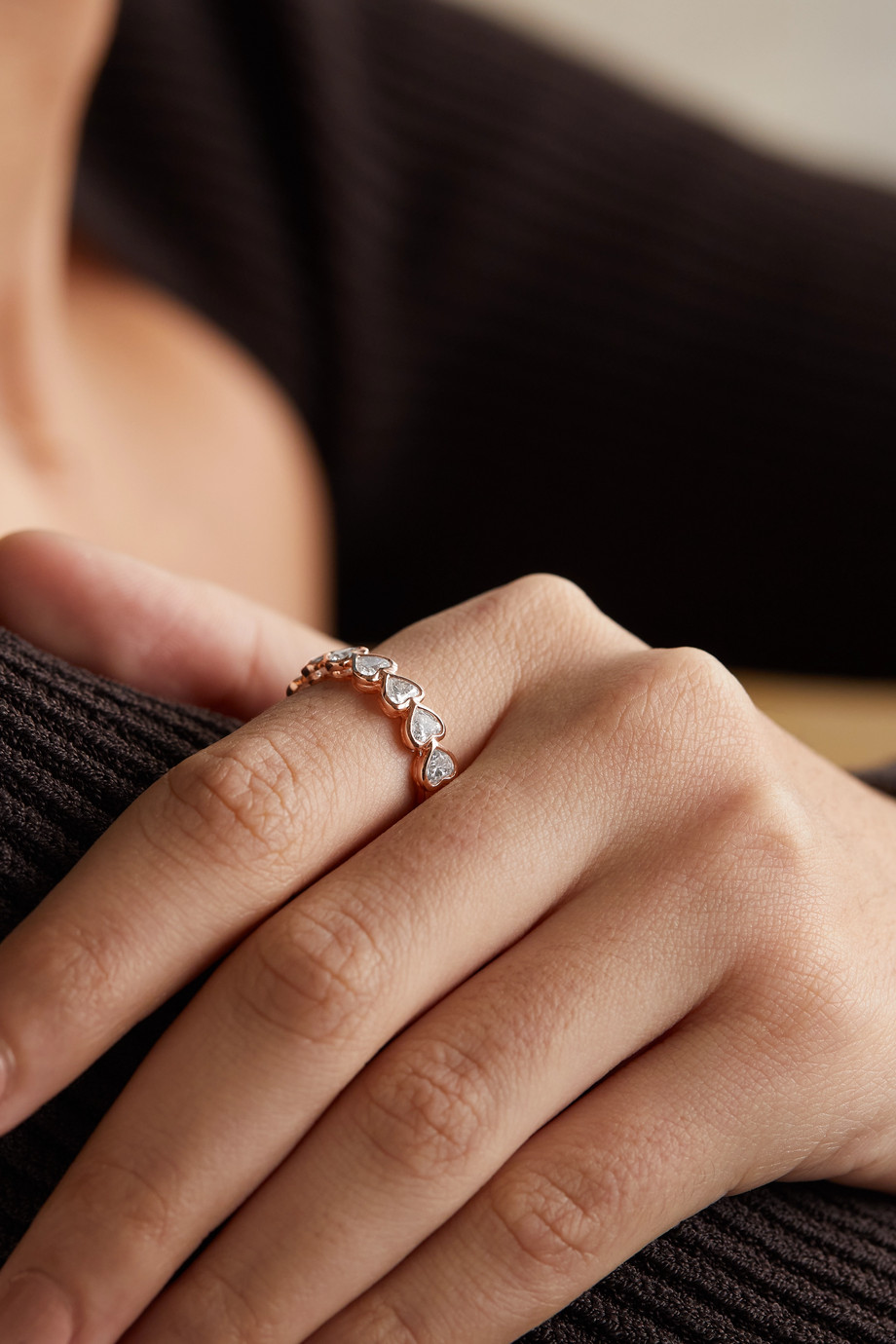 Anita Ko Bague en or rose 18 carats et diamants